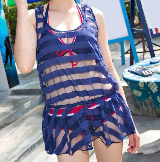 Stylish Color Splicing Halterneck Three-Piece Swimsuit For Women - DEEP BLUE L