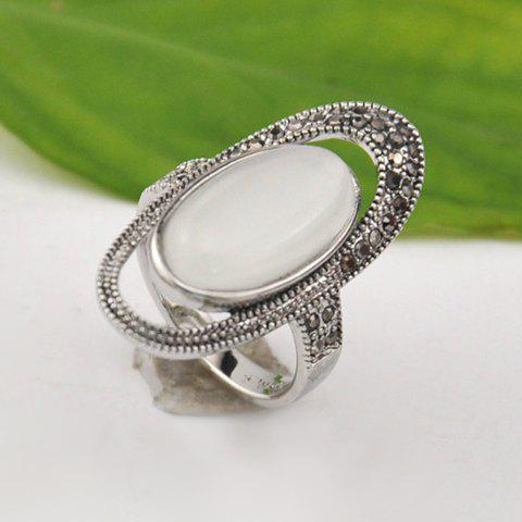 Fashionable Openwork Opal Ellipse Ring For Women