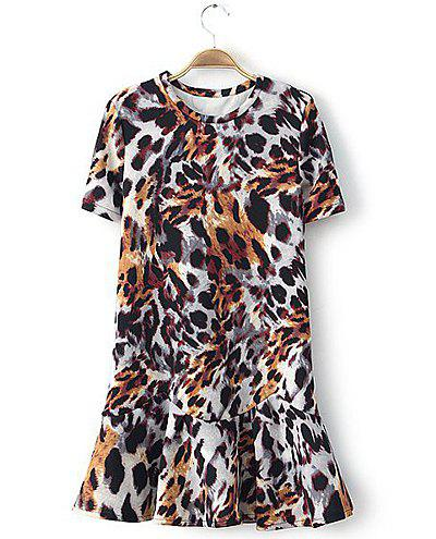 Leopard Print Scoop Collar Short Sleeve Flouncing Splicing Stylish Women's Dress - COLORMIX L