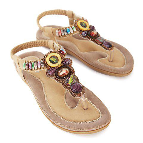 Stylish Flip-Flop and Beading Design Sandals For Women - APRICOT 39