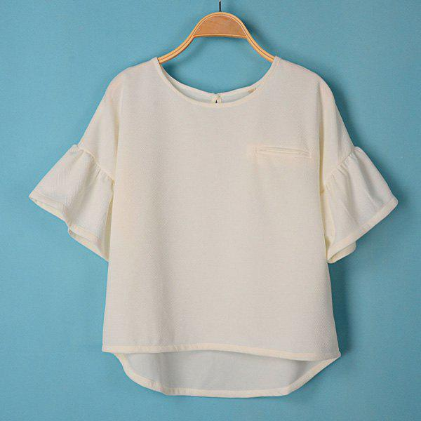 Solid Color Scoop Collar Flare Sleeve Simple Style Women's T-Shirt - WHITE M