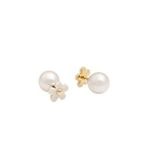 Pair of Chic Faux Pearl Flower Stud Earrings For Women - WHITE