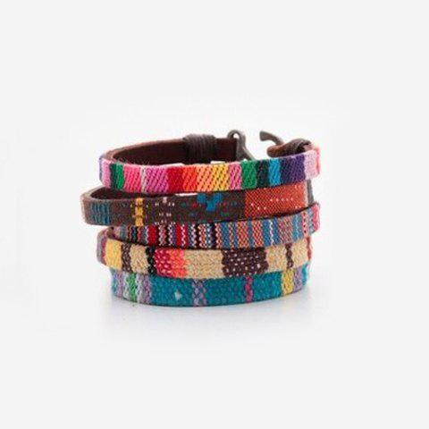 Hand Knitted Faux Leather Bracelet (ONE PIECE) - COLOR ASSORTED
