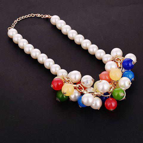 Stylish Multi-Layered Colorful Faux Pearl Pendant Necklace For Women