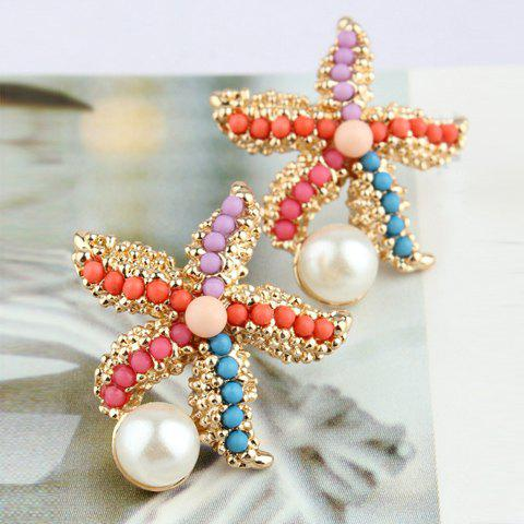 Bead Decorated Starfish Shaped Stud Earrings -  AS THE PICTURE