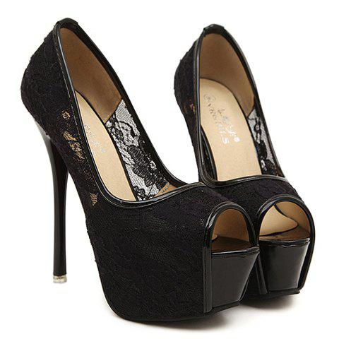 Stylish Lace and Sexy High Heel Design Peep Toed Shoes For Women - BLACK 36