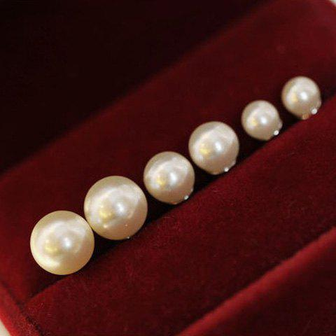 3 Pairs of Sweet Faux Pearl Stud Earrings For Women - AS THE PICTURE