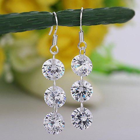 Pair of Diamante Pendant Drop Earrings - AS THE PICTURE