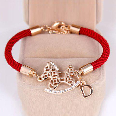 Cute Hollow Out Horse Pendant Red Rope Charm Bracelet For Women