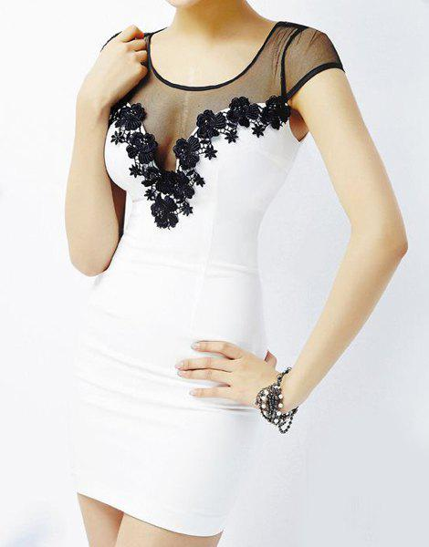 Hot Splicing Grenadine Lace trimming Design Scoop Neck Women's Slim Fit Club Dress - WHITE ONE SIZE