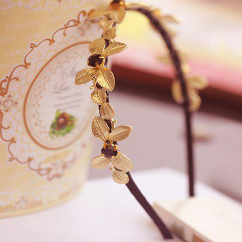 Cute Gold Plated Leaf Diamante Hairband For Women - BLACK