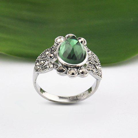 Faux Emerald Inlaid Rhinestone Ring - COLORMIX ONE SIZE