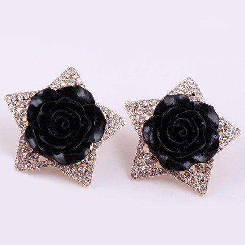 Pair of Fashion Flower Decorated Diamante Star Pattern Stud Earrings For Women - BLACK