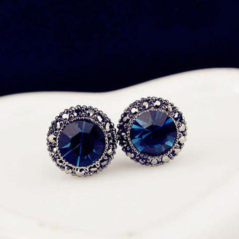 Pair of Rhinestone Faux Sapphire Earrings - BLUE