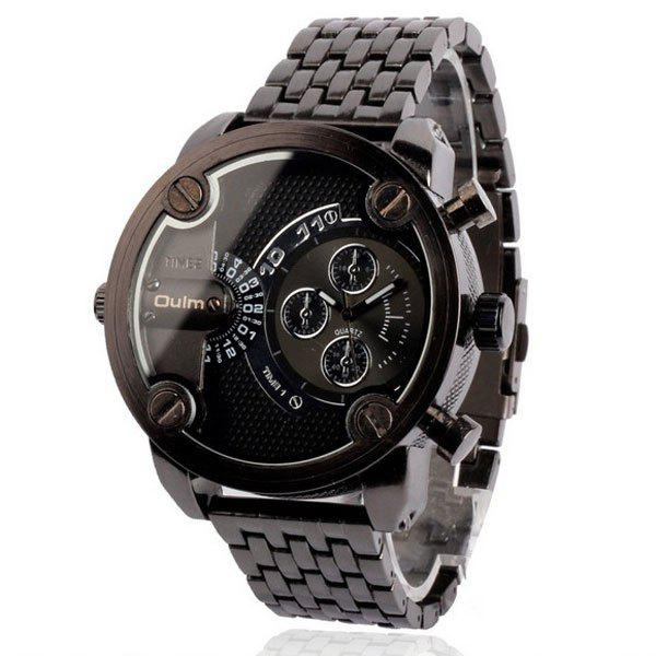 Oulm Luxury Waterproof Quartz Watch with Double Movt Analog Indicate Steel Watchband for Men - BLACK