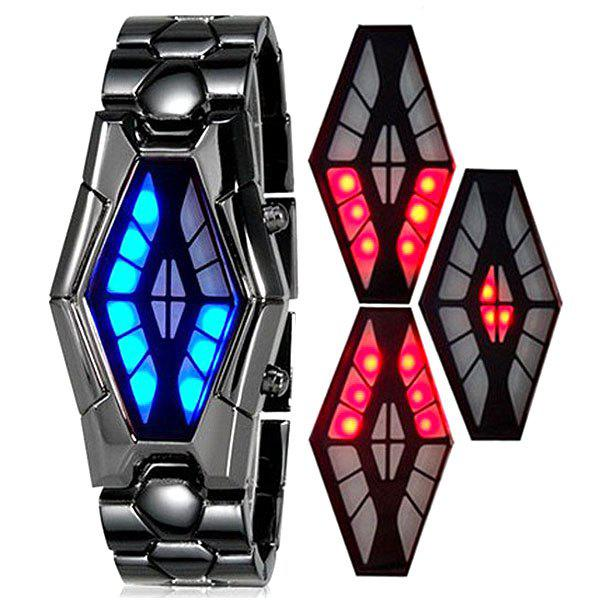 Waterproof Steel Band LED Screen Watch with Blue and Red Light Display Snake Head Shaped -  COFFEE