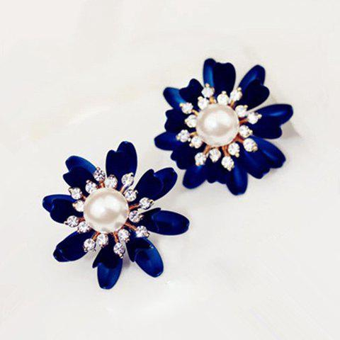 Pair of Rhinestone Faux Pearl Flower Earrings - COLOR ASSORTED