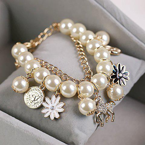 Faux Pearl Rhinestone Flower Horse Pendant Bracelet - AS THE PICTURE