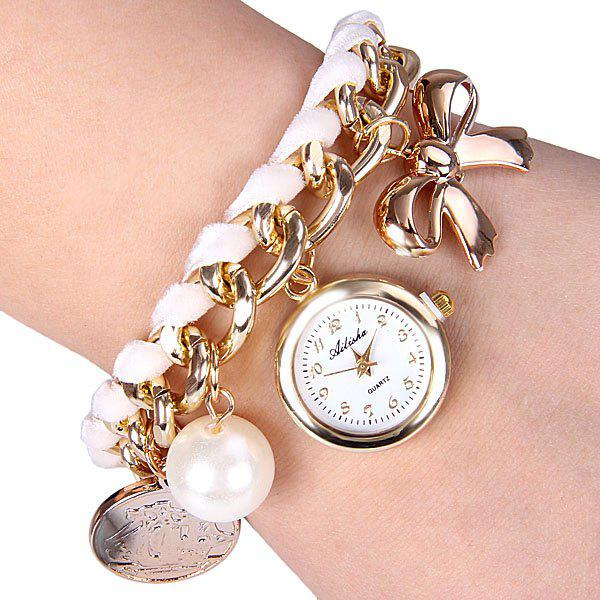Quartz Watch with Bowknot Artificial Pearl Round Dial and Chain Watch Band for Women - WHITE