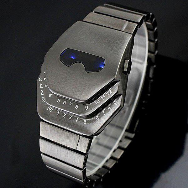 Steel Band LED Screen Watch with Blue Light Display Snake Head Shaped - GUN METAL