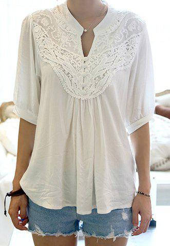 Half Sleeve Lace Splicing Blouse, WHITE, ONE SIZE in Blouses ...