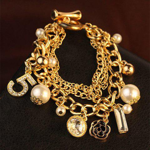 Stylish Chic Beads Flower Pendant Multielement Bracelet For Women - AS THE PICTURE