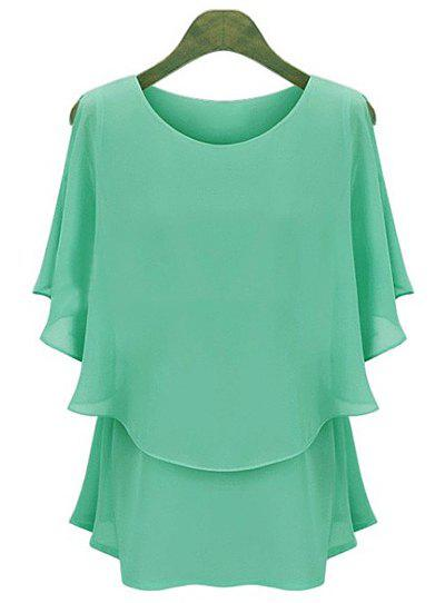 Elegant Scoop Neck Short Sleeve Faux Twinset Design Ruffled Blouse For Women - GREEN 2XL