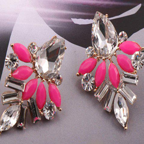 Pair of Simple Openwork Candy Color Leaf Pattern Stud Earrings For Women - ROSE MADDER