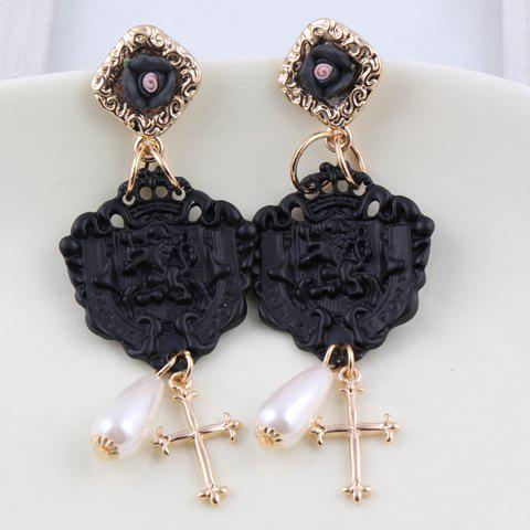 Pair of Characteristic Cross Pendant Carved Geometry Pattern Drop Earrings For Women