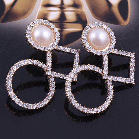 Pair of Faux Pearl Decorated Diamante Geometry Pattern Stud Earrings - WHITE