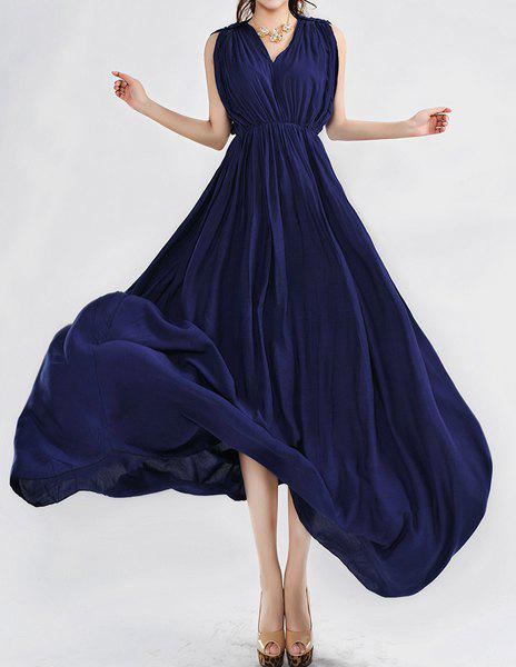 Women's Bohemian Style V-Neck Solid Color Sleeveless Maxi Dress - BLUE M