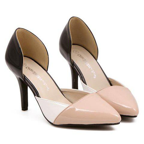 Fashionable Pointed Toe and Color Block Design Women's Pumps - BLACK 39