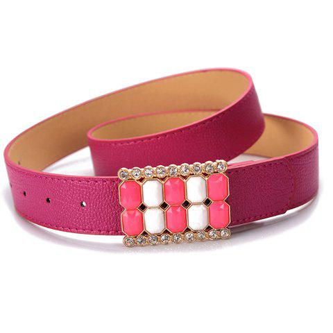 Sweet Multiple Octagons Connected Buckle Candy Color Waist Belt For Women - COLOR ASSORTED