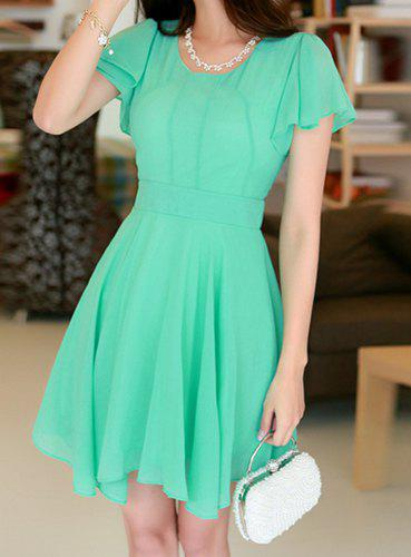 Stylish Scoop Neck Short Sleeve Solid Color Chiffon Dress For Women
