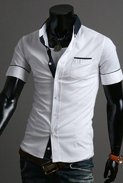 Fashion Pocket Design Hit Color Splicing Shirt Collar Short Sleeve ...