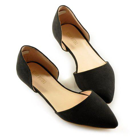Simple Solid Color and Stitching Design Women's Flat Shoes - BLACK 39