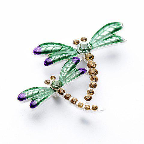 Fake Diamond Double Dragonfly Shape Brooch - COLORMIX