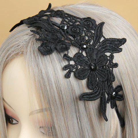 Chic Openwork Lace Flower Pattern Hairband For Women - BLACK