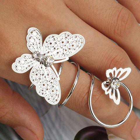 Diamante Hollowed Double Butterfly Ring - SILVER ONE-SIZE