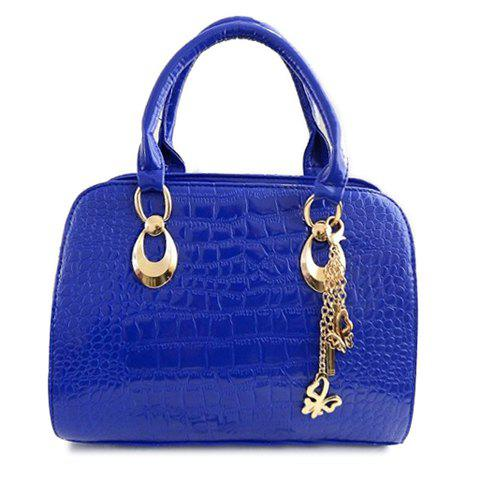 Gorgeous Crocodile Print and Pendant Design Tote Bag For Women - BLUE