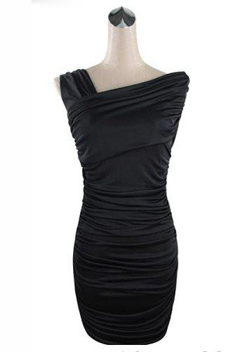 Women's Enchanting Solid Color Draped Sleeveless Bodycon Dress - BLACK ONE SIZE