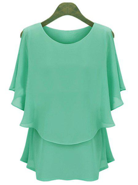 Women's Casual Scoop Neck Solid Color Batwing Sleeves Chiffon Blouse - LIGHT GREEN XL