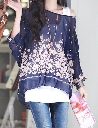Elegant Scoop Neck Batwing Sleeve Printed Blue Chiffon Blouse For Women