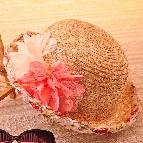 Charateristic Lace Flowers Decorated Sun Hat For Women -  LIGHT CAMEL