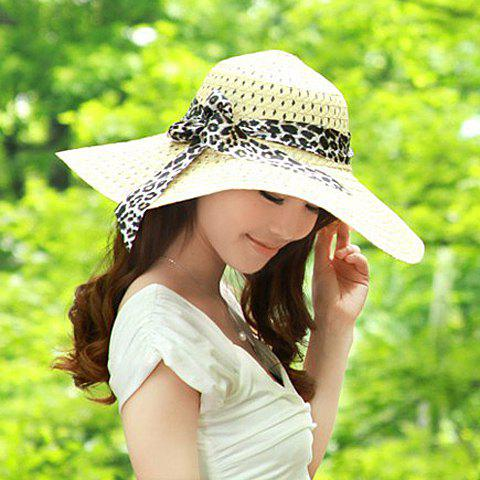 Stylish Bowknot Decorated Openwork Sun Hat For Women - BEIGE