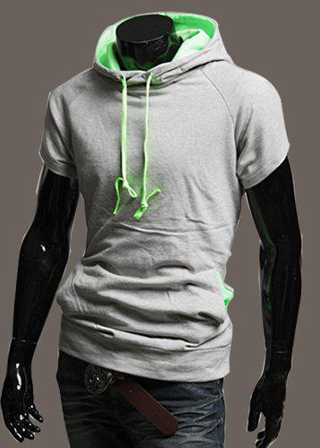 Simple Style Slimming Color Splicing Design Short Sleeves Men's Cotton Hoodies - L LIGHT GRAY