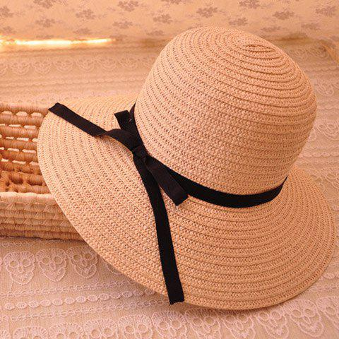 Sweet Black Bowknot Decorated Solid Color Sun Hat For Women - OFF WHITE