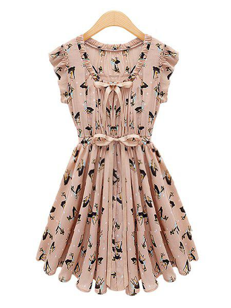 Fawn Pattern Occident Style Fly Sleeve Women's Dress - PINK M