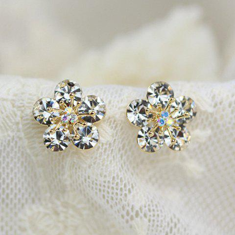 Pair of Shining Rhinestone Decorated Flower Pattern Stud Earrings For Women - GOLDEN