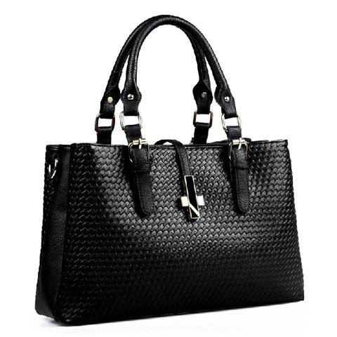 Fashionable Weaving and Buckle Design Shoulder Bag For Women - BLACK